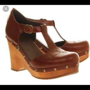 Mary Jane wedge ugg leather brown Chrissie